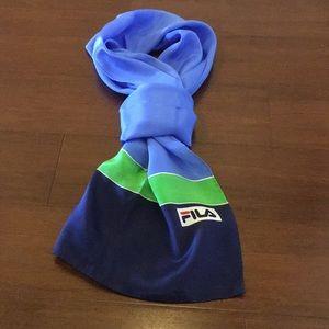FILA Vintage Blue and Green Silk Scarf